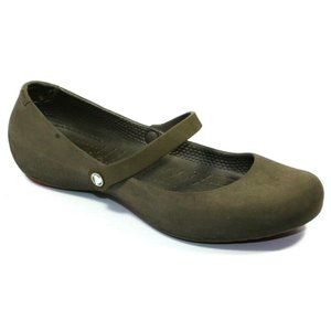 Crocs Womens Alice Work Brown Ballet Flats Size 8